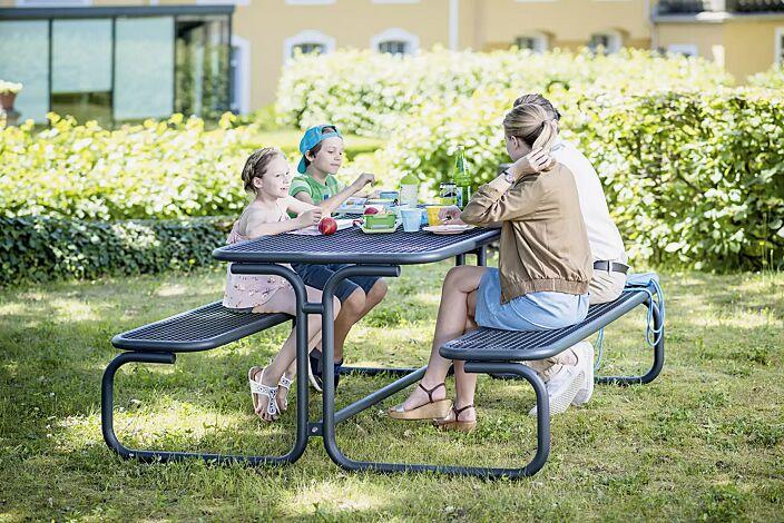 Bank-Tisch-Kombination CAMPO in RAL 7016 anthrazitgrau