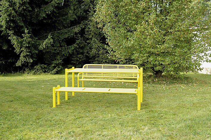 Bank-Tisch-Kombination GLURNS bestehend aus einem Tisch und Sitzbank mit und ohne Rückenlehne, in RAL 1018 zinkgelb