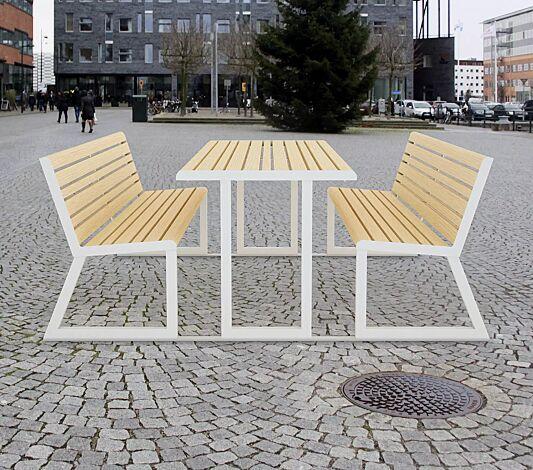 """<div id=""""container"""" class=""""container"""">Bank-Tisch-Kombination mit Rückenlehne, Stahlteile in RAL 9003 signalweiß</div>"""