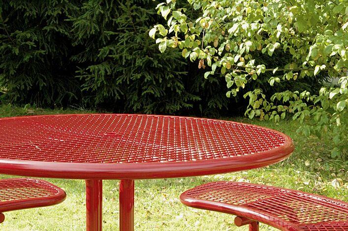 Detail: Bank-Tisch-Kombination PAVIA, rund, in RAL 3000 feuerrot
