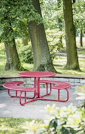 Bank-Tisch-Kombination PAVIA in RAL 3003 rubinrot