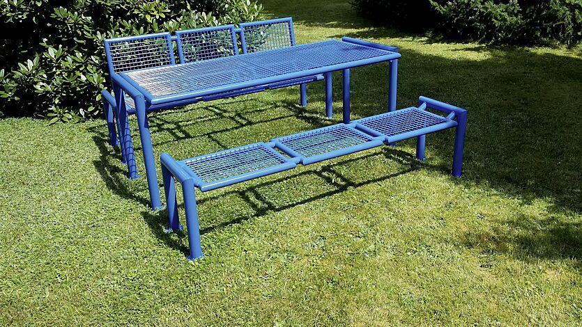 Bank-Tisch-Kombination SEVERO bestehend aus einem Tisch und Sitzbank mit und ohne Rückenlehne, in RAL 5017 verkehrsblau
