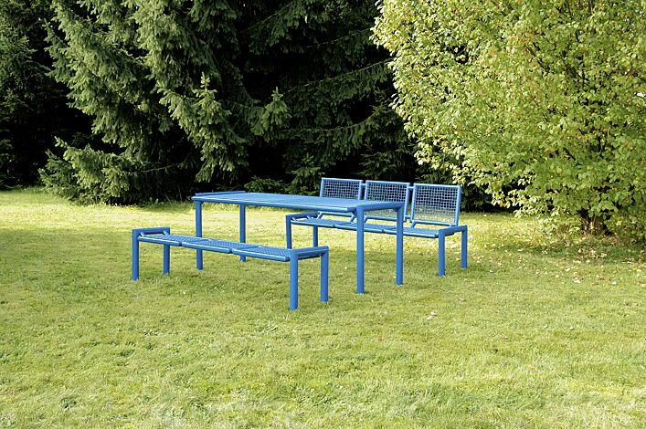 Bank-Tisch-Kombination SEVERO bestehend aus Sitzbank mit und ohne Rückenlehne und einem Tisch, in RAL 5017 verkehrsblau