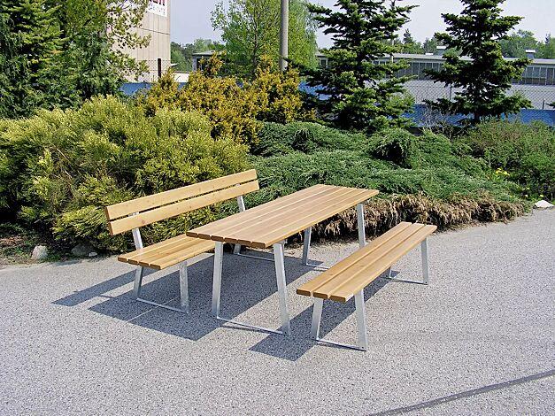 Bank-Tisch-Kombination TURIN bestehend aus Sitzbank mit und ohne Rückenlehne und einem Tisch, mit Fichteholzbelattung, Stahlteile feuerverzinkt