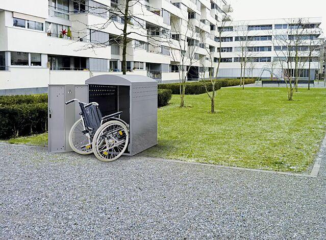 """<div id=""""container"""" class=""""container"""">Rollstuhlgarage LEXINGTON, Grundeinheit mit Bogendach, Türanschlag DIN links (auftragsbezogene Anpassung), in RAL 7040 fenstergrau</div>"""
