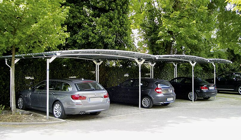 BWA bausystem® Carport, auftragsbezogene Anpassung für 5 Pkw, Dachbreite x Dachtiefe 12900 mm x 5000 mm, Dacheindeckung Stahlwellblech mit Dachrinnen und Fallrohre, Stahlkonstruktion feuerverzinkt