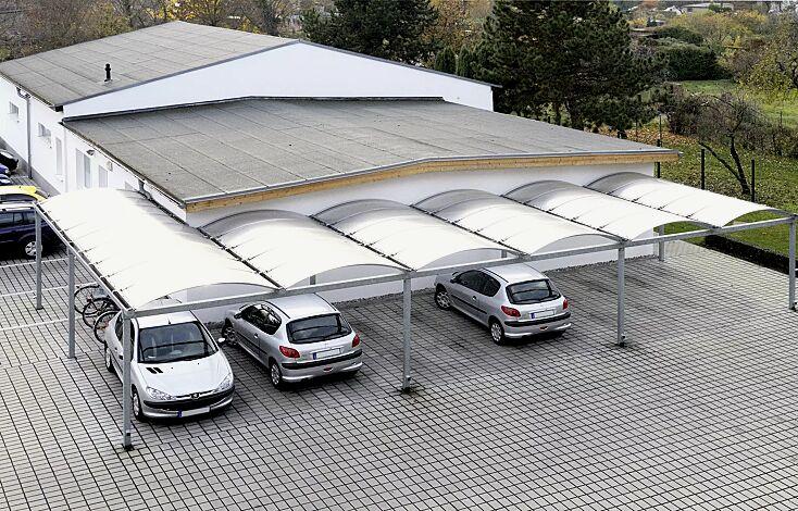 Pkw-Überdachung KALLISTO mit auftragsbezogener Anpassung für 6 Pkw, Dachbreite x Dachtiefe 15120 mm x 5000 / 10000 mm, Dacheindeckung Polycarbonat, opal transparent, Stahlkonstruktion feuerverzinkt