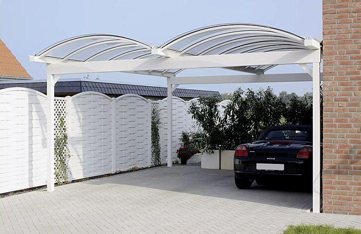 Pkw-Überdachung KALLISTO für 2 Pkw, mit auftragsbezogener Anpassung der Dachbreite x Dachtiefe 5120 mm x 6000 mm, Stahlkonstruktion in RAL 9010 reinweiß