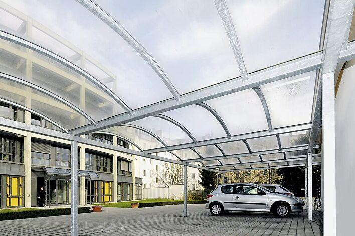 Pkw-Überdachung KALLISTO mit auftragsbezogener Anpassung für 6 Pkw, Dachbreite x Dachtiefe 15120 mm x 5000 mm, Dacheindeckung Polycarbonat, opal transparent, Stahlkonstruktion feuerverzinkt