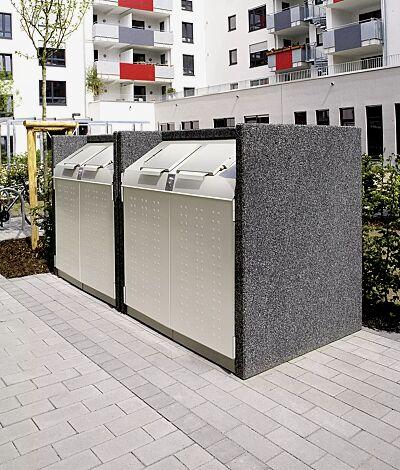 Containerbox DARWEN, Korpus revulkan® schwarz, Stahlteile in RAL 7044 seidengrau (Sonderlackierung) mit zentraler Schließung (Mehrpreis) und Kennzeichnung des Einwurfs (auf Anfrage gegen Mehrpreis)