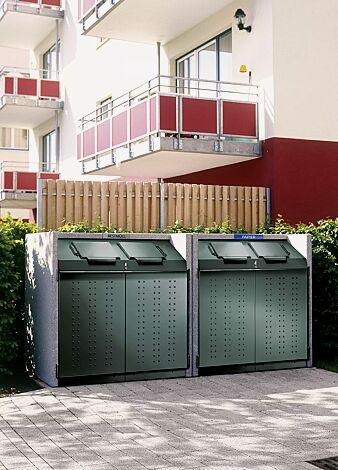 Containerbox DARWEN, Korpus procarat mixed, Stahlteile in RAL 1904015 jadegrün mit zentraler Schließung (Mehrpreis) und Kennzeichnung des Einwurfs (auf Anfrage gegen Mehrpreis)