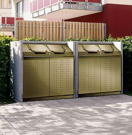 """<div id=""""container"""" class=""""container"""">Containerbox DARWEN, Korpus Procarat mixed, Stahlteile in RAL 3004 purpurrot (Sonderlackierung) mit zentraler Schließung (Mehrpreis)</div>"""