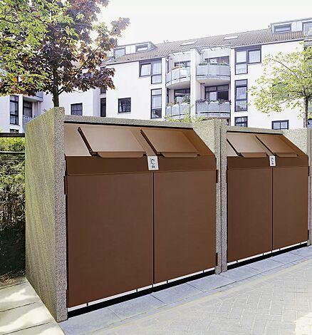 Containerbox SWANLEY, Korpus Sichtbeton feingestockt in redomit®, Stahlteile in cognacbraun, mit zentralem Verschlusssystem (Mehrpreis)