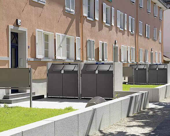 Containerboxen SWANLEY, Korpus procarat® mixed, Stahlteile in RAL 7016 anthrazitgrau, mit zentraler Schließung (Mehrpreis) und Wertstoffkennzeichnung (auf Anfrage gegen Mehrpreis)