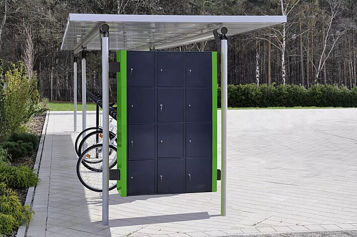 Schließfachanlage integriert in Fahrradüberdachung MATRIX