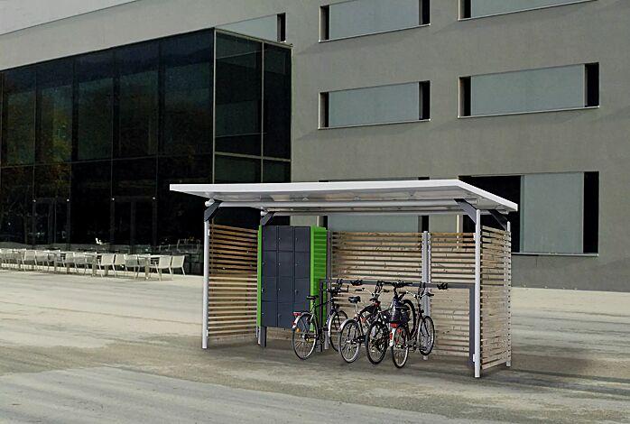 Design-Lenkerhaltesystem UNIT einseitig, 6 Stellplätze, in RAL 7016 anthrazitgrau, integriert in Fahrradüberdachung MATRIX mit Schließfachanlage