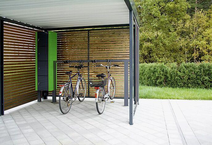 Design-Lenkerhaltesystem UNIT einseitig, 4 Stellplätze, in RAL 7016 anthrazitgrau, integriert in Fahrradüberdachung MULTIPORT mit Schließfachanlage