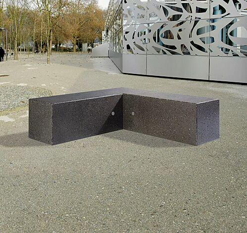 Eckbank IRISA aus Marmor, Sitzflächen geschliffen, Seitenflächen sandgestrahlt, in schwarz ebano