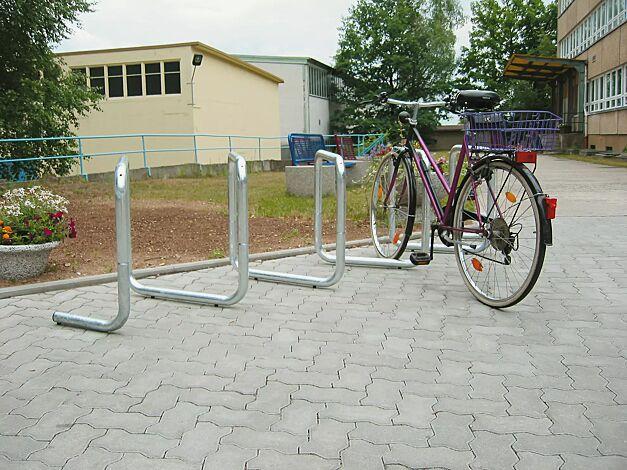 Fahrrad-Parkschnecke ATLANTA, 1 Grund- und 1 Anbaueinheit bei einseitiger Nutzung für 5 Stellplätze bzw. 10 Stellplätze bei doppelseitiger Nutzung