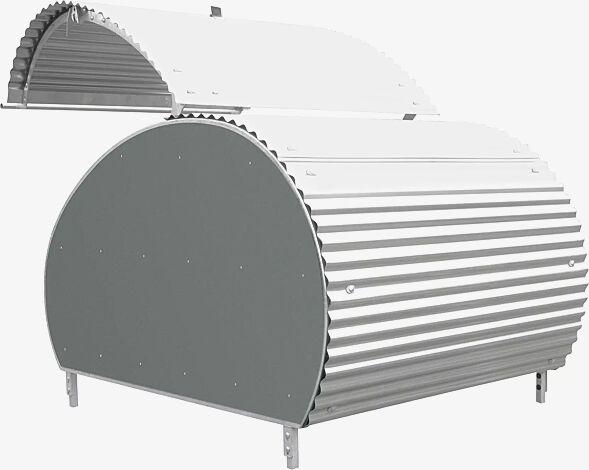 MULTI-BIKE-BOX, komplett feuerverzinkt, Seitenteile aus Fassadenbauplatten Trespa® in mittelgrau