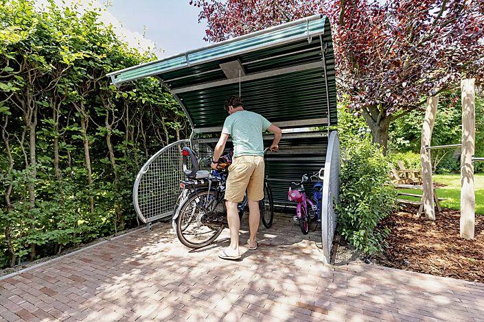 Fahrradgarage MULTI-BIKE-BOX, Wellblech in RAL 6009 tannengrün, Seitenteile aus Drahtgitter