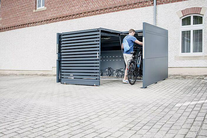 Fahrradgarage STYLEOUT® BIKE L, Rück-, Seitenwände und Schiebetüren in RAL 7016 anthrazitgrau, Dach Aluminium eloxiert, mit Ablagefläche und Steckdosenleiste (Zubehör)