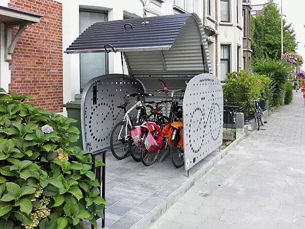 Fahrradgarage VELO-BOXX®-Professional mit Klappflügeltür aus Wellblech in RAL 7016 anthrazitgrau, Seitenwände in RAL 7004 signalgrau