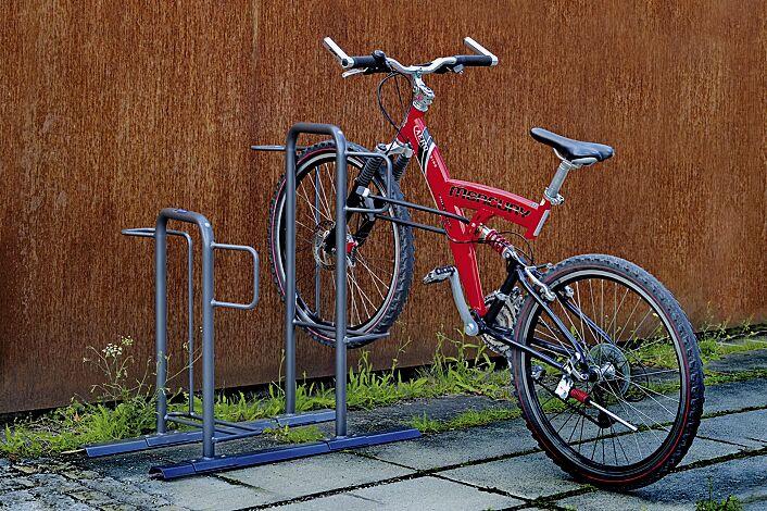 Fahrradparker MISSOURI-LIGHT einseitig 90°, tief / hoch, zum Aufdübeln bei +/- 0 mm, 2 Stellplätze, in RAL 7012 basaltgrau