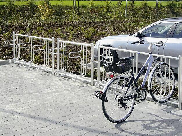 Fahrradständer ADELAIDE einseitig, zum Einbetonieren, Reihenanlage bestehend aus 2 und 3 Stellplätzen, feuerverzinkt
