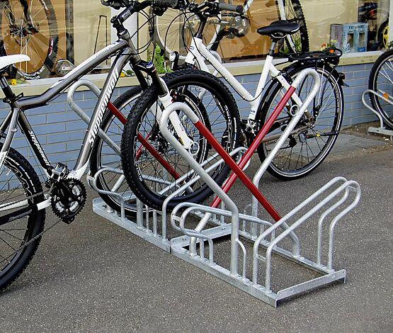 """<div id=""""container"""" class=""""container"""">Fahrradständer DENVER mit Anlehnbügel, doppelseitig, 4 Stellplätze, feuerverzinkt</div>"""