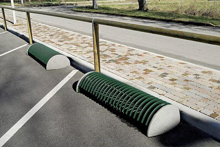 Fahrradständer RICCIO mit Betonsockel, in RAL 6005 moosgrün