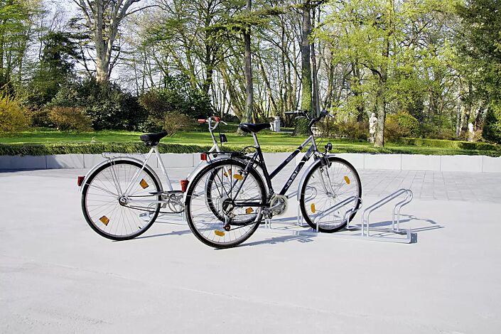 Fahrradständer UNIVERSAL einseitig, 45° links, 6 Stellplätze, feuerverzinkt