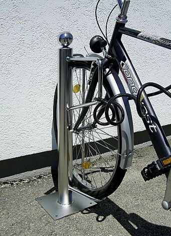 Fahrradständer WARREN einseitig, zum Aufdübeln, mit Zierkugel (Zubehör), Edelstahl