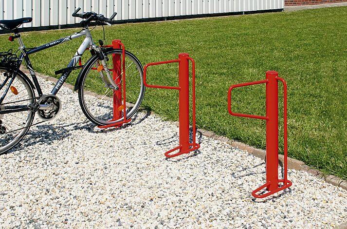 Fahrradständer WARREN einseitig, zum Einbetonieren, in RAL 3000 feuerrot