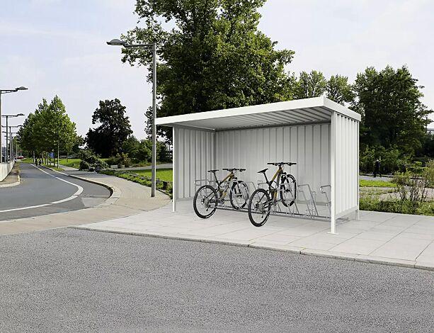 Fahrradüberdachung ARIES, einseitig, Dachbreite x Dachtiefe 4390 mm x 2200 mm, mit Rück- und Seitenwänden, mit Fahrradständer MODESTA, Stahlkonstruktion in RAL 9002 grauweiß