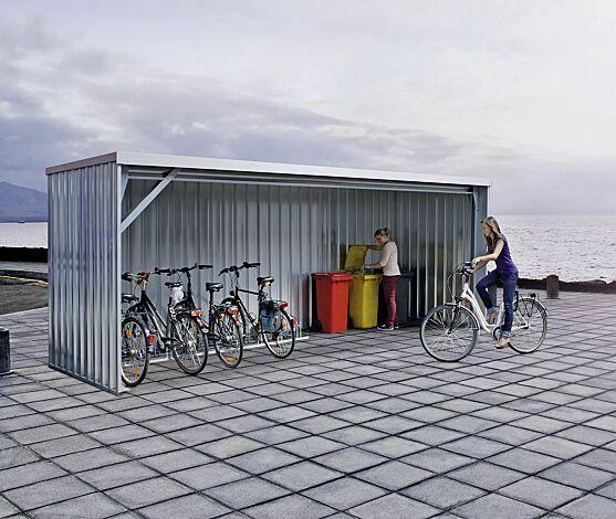 """<div id=""""container"""" class=""""container"""">Fahrradüberdachung BALTIMORE, Dachbreite x Dachtiefe 6100 mm x 2300 mm, Stahlkonstruktion feuerverzinkt, inkl. Rück-, Seitenwänden und Dacheindeckung in Stahltrapezblech</div>"""