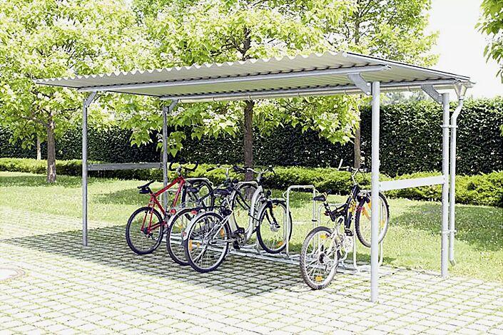 Fahrradüberdachung BWA bausystem®, Dachbreite x Dachtiefe 5200 mm x 2760 mm, Stahlkonstruktion feuerverzinkt, Dacheindeckung Stahlwellblech