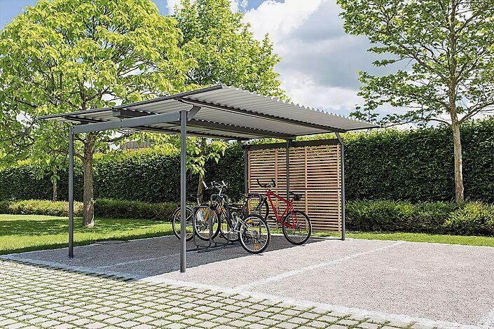 Fahrradüberdachung BWA bausystem®, Dachbreite x Dachtiefe 5200 mm x 4200 mm, Fahrradständer BWA parker®, Stahlkonstruktion in RAL 9007 graualuminium