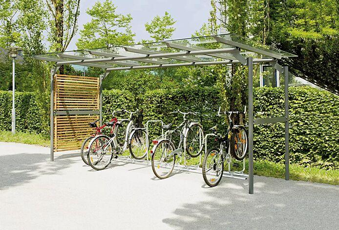 Fahrradüberdachung BWA bausystem®, Dachbreite x Dachtiefe 5200 mm x 2760 mm, Fahrradständer BWA parker®, Stahlkonstruktion in RAL 9007 graualuminium