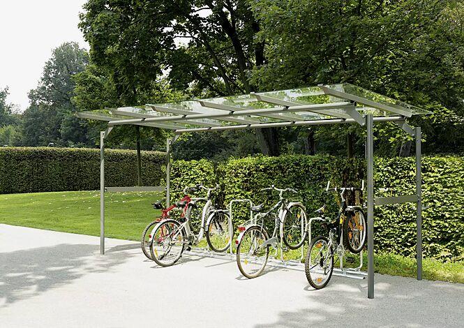 Fahrradüberdachung BWA bausystem® Dachbreite x Dachtiefe 5200 mm x 2760 mm, Stahlkonstruktion feuerverzinkt und pulverbeschichtet, Dacheindeckung VSG, Klarglas