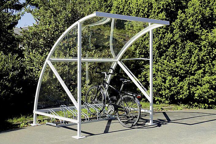 Fahrradüberdachung CEPHEUS Dachbreite x Dachtiefe 2090 mm x 2100 mm, Stahlkonstruktion feuerverzinkt, inkl. Seitenwände, Seitenwände sowie Dacheindeckung Polycarbonat, klar transparent