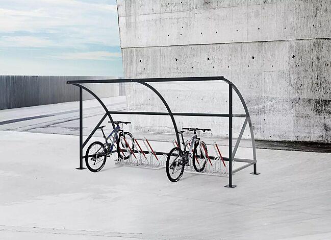 Fahrradüberdachung CEPHEUS, Dachbreite x Dachtiefe 4310 mm x 2100 mm, Dach und Seitenwände aus Polycarbonat, Fahrradständer NEW YORK, Stahlkonstruktion in RAL 7016 anthrazitgrau