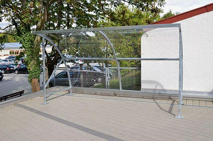 """<div id=""""container"""" class=""""container"""">Fahrradüberdachung CEPHEUS, Dachbreite x Dachtiefe 4130 mm x 2100 mm, Dach und Seitenwände aus Polycarbonat, Stahlkonstruktion feuerverzinkt</div>"""