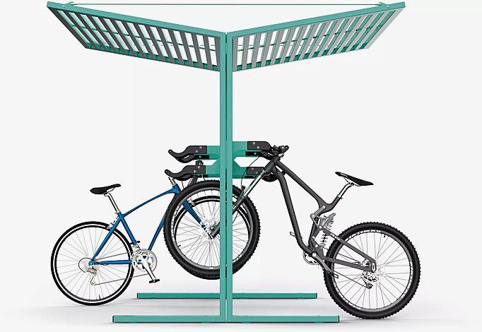 Fahrradüberdachung CISON, Stahl-Lamellendach, Dachbreite x Dachtiefe 2200 mm x 2495 mm, Lenkerhaltesystem integriert, Stahlkonstruktion RAL 6029 minzgrün
