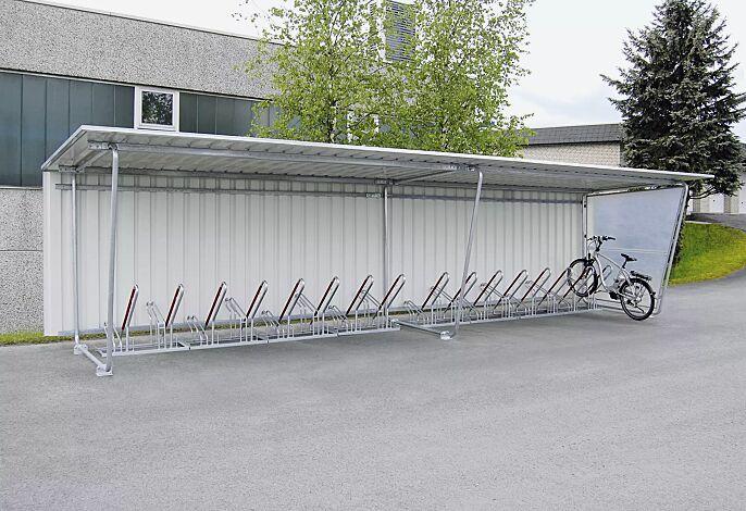 Fahrradüberdachung INDUS, Dachbreite x Dachtiefe 9100 mm x 2330 mm, einseitig, mit Rück- und Seitenwand sowie Fahrradständer NEW YORK, Stahlkonstruktion feuerverzinkt