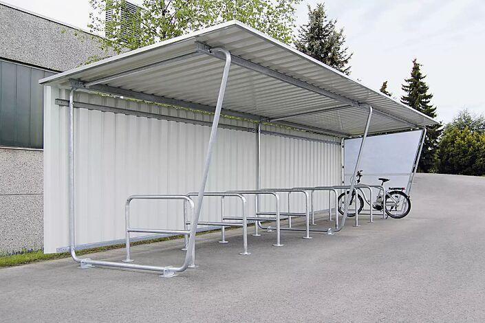 Fahrradüberdachung INDUS, Dachbreite x Dachtiefe 9100 mm x 2330 mm, einseitig, mit Rück- und Seitenwand sowie Fahrradständer FLORIDA, Stahlkonstruktion feuerverzinkt