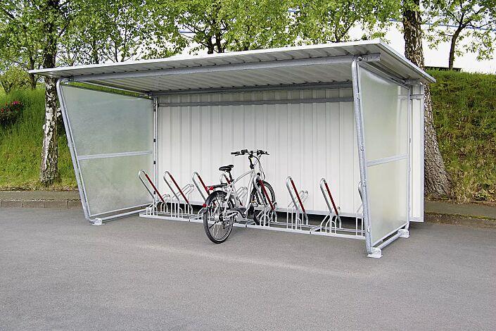 Fahrradüberdachung INDUS, Dachbreite x Dachtiefe 4800 mm x 2330 mm, einseitig, mit Rück- und Seitenwänden sowie Fahrradständer NEW YORK, Stahlkonstruktion feuerverzinkt