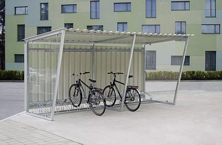 Fahrradüberdachung Z05, Dachbreite x Dachtiefe 4820 mm x 2400 mm, mit Rück- und Seitenwänden und Fahrradständer UNIVERSAL, Stahlkonstruktion feuerverzinkt<br /> <br /> Fahrradüberdachung Z05,Dachbreite x Dachtiefe 4820 mm x 2400 mm, feuerverzinkt, inkl. 2 Stück Seitenwänden ESG, Klarglas, Dacheindeckung Trapezblech<br /> <br /> Fahrradüberdachung Z05, Dachbreite x Dachtiefe 4820 mm x 2400 mm, feuerverzinkt, inkl. 2 Stück Seitenwänden ESG, Klarglas