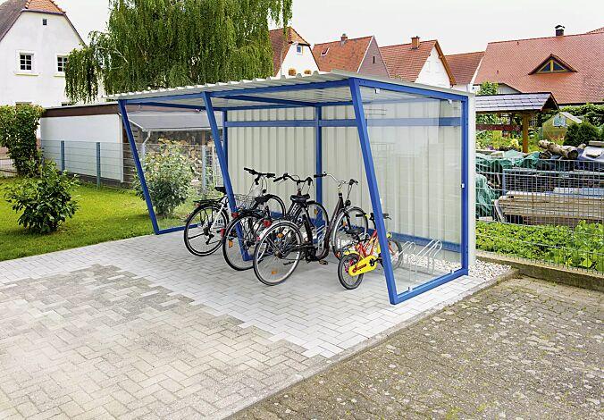 Fahrradüberdachung Z05, Dachbreite x Dachtiefe 4820 mm x 2400 mm, mit Rück- und Seitenwänden sowie Fahrradständer UNIVERSAL, Stahlkonstruktion in RAL 5019 capriblau