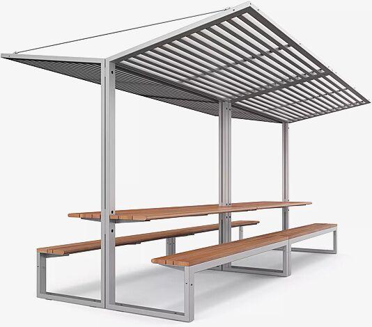 Freizeitüberdachung CISON, Lamellendach aus Stahl, 2 x Breite 2200 mm x Tiefe 2495 mm, mit integriertem Tisch und Sitzbank, Stahlkonstruktion in RAL 9006 weißaluminium
